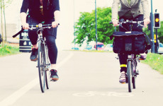 Two cyclists in cycle lane