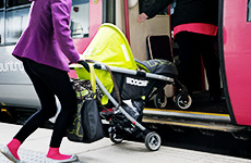 Pushchair on train