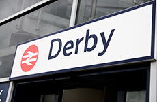 Derby train station sign