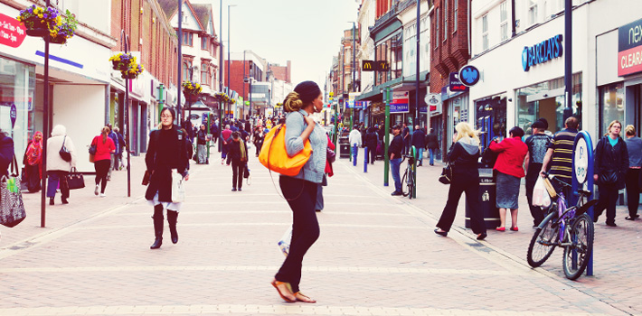 People walking in Derby town centre