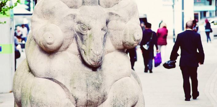 Stone ram statue