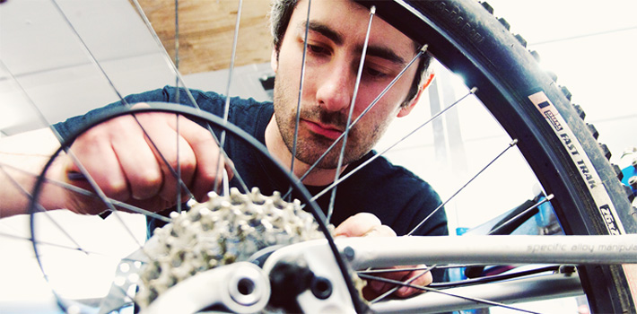 Working on bicycle