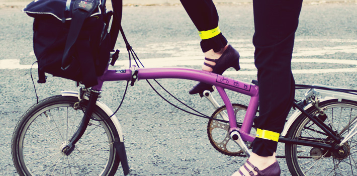Purple brompton bike