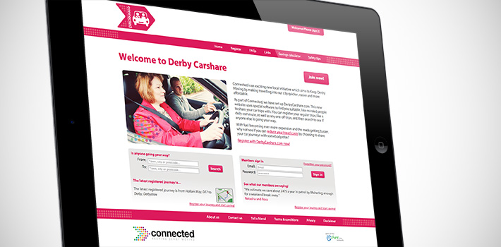 Derby Carshare website on tablet computer