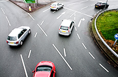 Cars on roundabout
