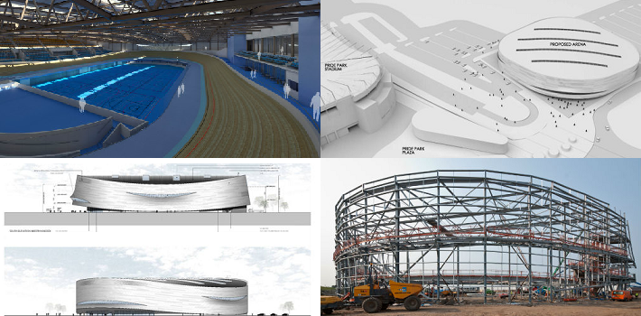 Different images of plans for a new velodrome