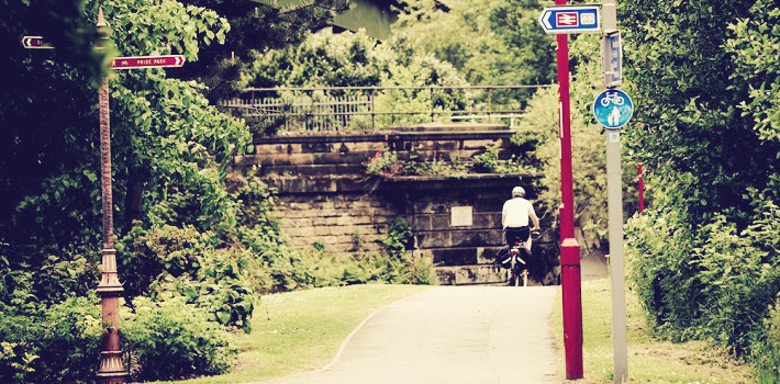 Cycling through the park