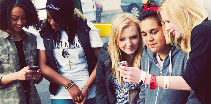 Girls at bus stop